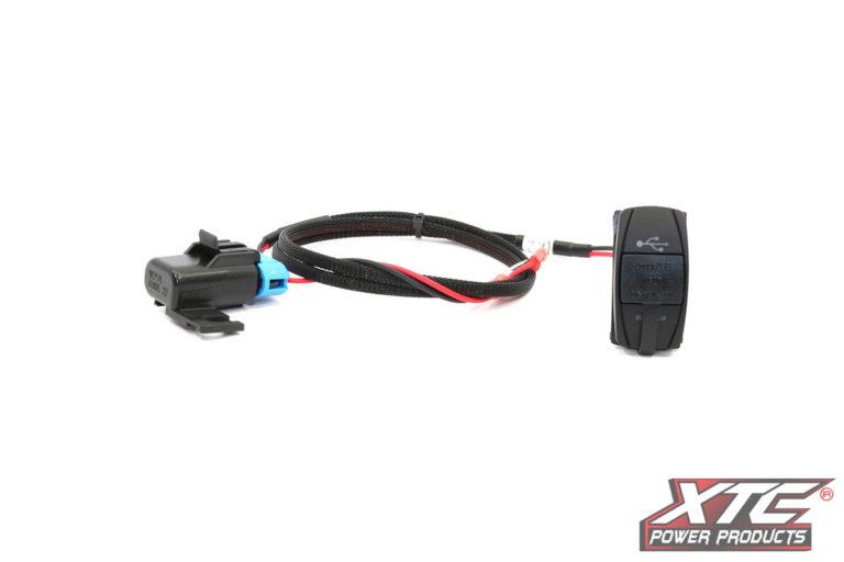 RZR XP Plug and Play Dual USB Power Port DC5V 4.2A w/Blue LED, USB Cover & Harness