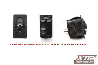 Carling Contura V SPST Momentary Switch with Blue Bottom LED